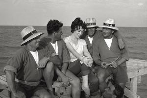 Gina Lollobrigida on the Seashore with Lifeguards
