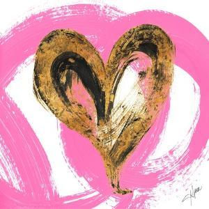 Pink & Gold Heart Strokes I by Gina Ritter