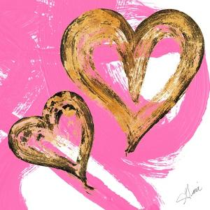 Pink & Gold Heart Strokes II by Gina Ritter