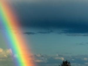 After Bad Weather and Rain Enjoys a Rainbow. by ginasanders