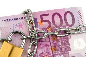 Euro Banknotes with Chain and Padlock by ginasanders