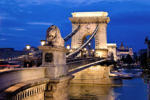 The Chain Bridge is One of the Landmarks of Budapest in Hungary by ginasanders