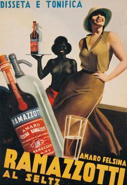 Advertising poster for Amaro Felsina Ramazzotti Water by Gino Boccasile