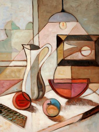 Abstract Oil Painting of Still Life with Pitcher and Fruits by Gino Santa Maria