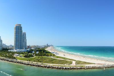 Panoramic Aerial View of South Miami Beach during Sunny Day by Gino Santa Maria