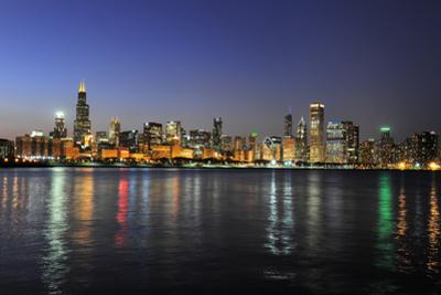 Partial View of Downtown Chicago Skyline at Dusk by Gino Santa Maria