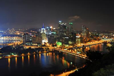 Pittsburgh's Skyline at Night Viewed from the Duquesne Incline by Gino Santa Maria