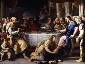 The Magdalen washing Christ's Feet in the House of Simon by Giordano Luca