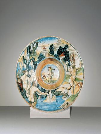 Plate with Diana and Actaeon in Ovid's Metamorphoses, 1524