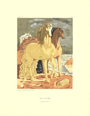 Horses on the Shore by Giorgio De Chirico
