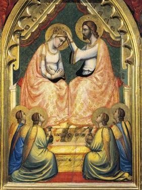 Italy, Florence, Basilica of Holy Cross, Bandini Baroncelli Chapel, Coronation of Virgin by Giotto di Bondone