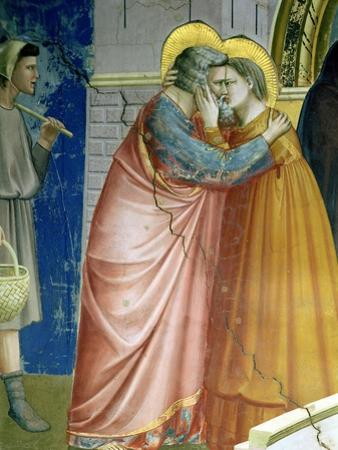 The Meeting at the Golden Gate, Detail of Joachim and St. Anne Embracing, c.1305 by Giotto di Bondone