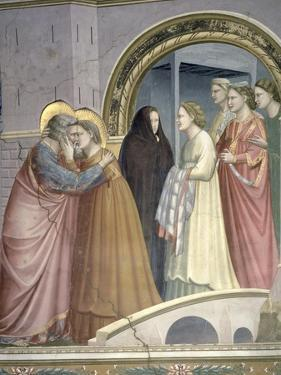 The Meeting at the Golden Gate, Detail of Joachim and St. Anne Embracing, circa 1305 by Giotto di Bondone
