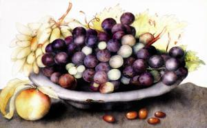 Dish of Grapes and Peaches by Giovanna Garzoni
