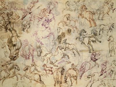 Drawing, Studies of Figures by Giovanni Ambrogio Figino