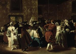 Masked Ball with Ladies and Gentlemen in Carnival Costume, Grand Hall of Ridotto in Palazzo Dandalo by Giovanni Antonio Guardi