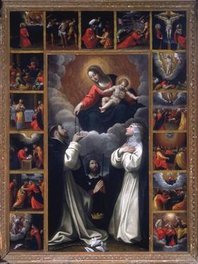 Madonna of the Rosary, Sts. Domenico and Catherine of Siena by Giovanni Battista Bertusco
