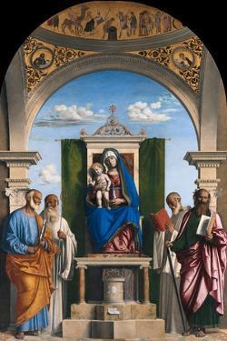 Enthroned Madonna with Child and Saints Peter, Romuald, Benedict and Paul, Ca 1595 by Giovanni Battista Cima Da Conegliano