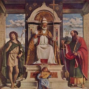 'Saint Peter enthroned with Saints, John the Baptist and Saint Paul', c1516 by Giovanni Battista Cima da Conegliano