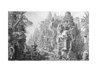Allegorical Frontispiece of Rome and Its History, from Le Antichita Romane de G.B. Piranesi