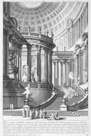Italy, Rome, Temple of Vestal Virgins, Etching
