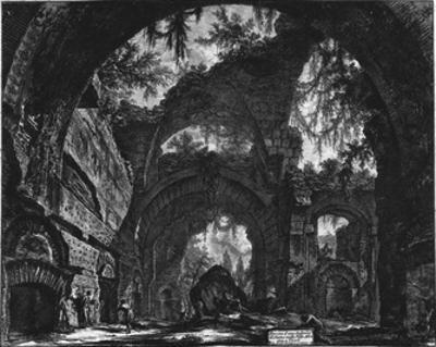 Giovanni Battista Piranesi (Ruins of a sculpture hall in the Hadrian's Villa) Art Poster Print