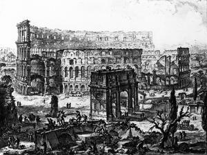 View of the Arch of Constantine and the Colosseum, from the 'Views of Rome' Series, C.1760 by Giovanni Battista Piranesi