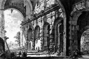 View of the Remains of the Temple of Claudius Near the Church of Santi Giovanni E Paolo, from the… by Giovanni Battista Piranesi