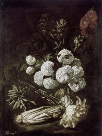 Still Life of Flowers and Vegetables, 17th Century by Giovanni-Battista Ruoppolo