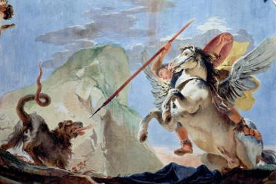 Bellerophon, Riding Pegasus, Slaying the Chimaera (Detail) by Giovanni Battista Tiepolo