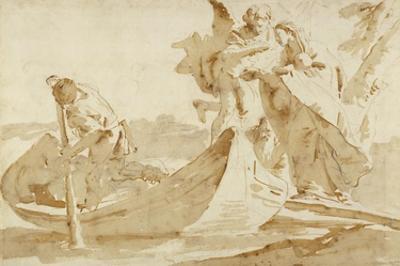 Flight into Egypt (recto); Various Studies (verso) by Giovanni Battista Tiepolo