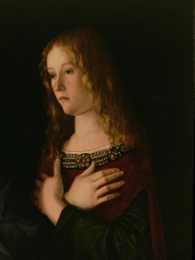 Mary Magdalene, Detail from the Virgin and Child with St. Catherine and Mary Magdalene, circa 1500 by Giovanni Bellini