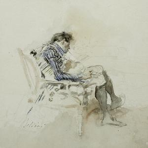 Gentleman Seated in an Armchair Reading a Book and Smoking a Pipe by Giovanni Boldini