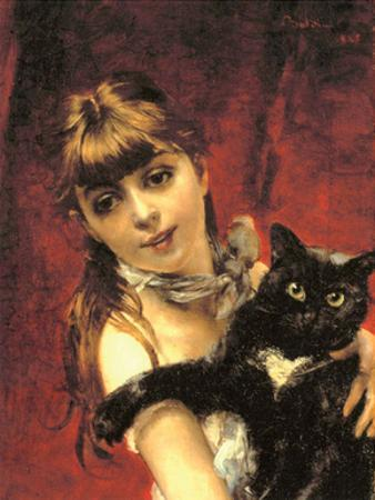 Girl with Black Cat, 1885 by Giovanni Boldini