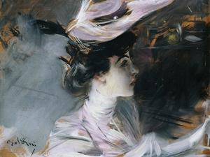 Portrait of Lina Cavalieri with New Hat by Giovanni Boldini