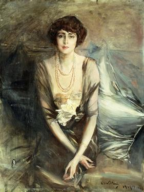 Portrait of Mrs. George McFadden Seated, Three-Quarter Length, 1919 by Giovanni Boldini
