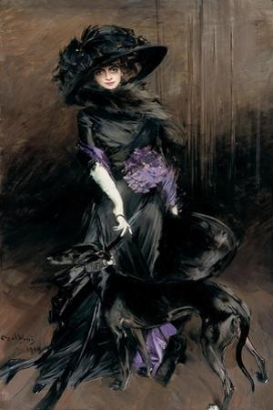 Portrait of the Marchesa Luisa Casati with a Greyhound, 1908 by Giovanni Boldini