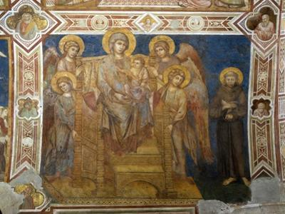 Madonna and Child Enthroned with Angels and St Francis of Assisi by Giovanni Cimabue