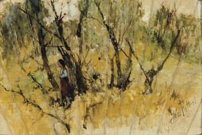 Forest with a Figure, the Study of a Fan