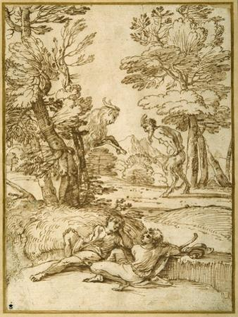 A Landscape with Two Shepherds Lads Resting, While a Satyr and a Goat Dance