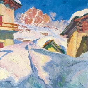Capolago in Winter with a View of Piz Lagrev, 1928 by Giovanni Giacometti