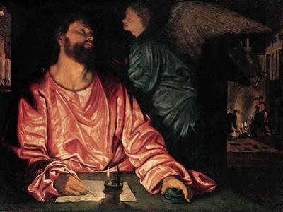 Saint Matthew and the Angel, c.1534 by Giovanni Girolamo Savoldo