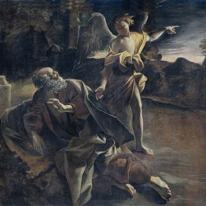 Prophet Elijah in the Desert Awakened by an Angel by Giovanni Lanfranco