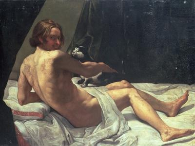 Young Man Lying on a Bed with a Cat, 1620