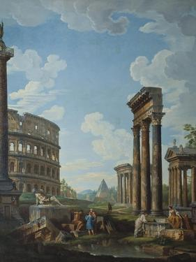 A Capriccio with Figures Among Roman Ruins Including the Arch of Constantine and the Pantheon by Giovanni Paolo Panini