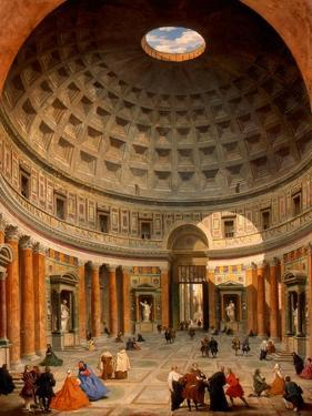 Interior of the Pantheon, Rome by Giovanni Paolo Panini