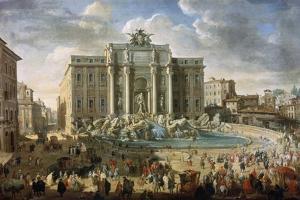 The Trevi Fountain in Rome (Pope Benidict XIV Visits the Trevi Fountain in Rom), 18th Century by Giovanni Paolo Panini