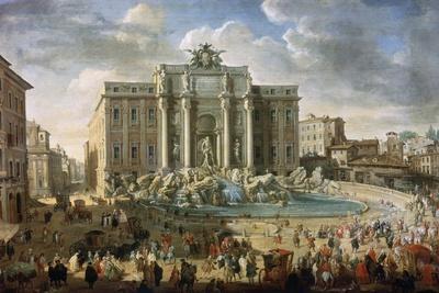The Trevi Fountain in Rome (Pope Benidict XIV Visits the Trevi Fountain in Rom), 18th Century