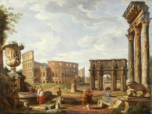 A Capriccio View of Rome, 1743 by Giovanni Paolo Pannini