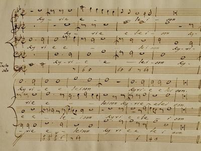Score of the Kyrie Eleison from the 'Messa a Quattro Voci', 18th Century Copy